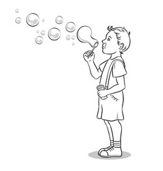 child blowing bubbles coloring book vector image