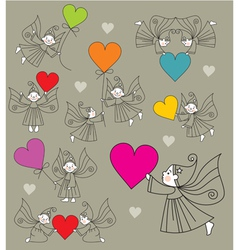 elves with hearts vector image