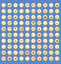 100 breakfast icons set cartoon vector image