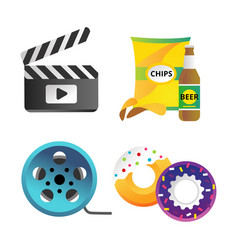 clapper board and cinema icons vector image