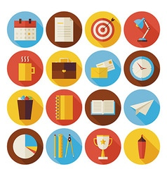 Flat Business and Office Circle Icons Set with vector image