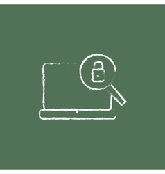 Laptop and magnifying glass icon drawn in chalk vector image vector image