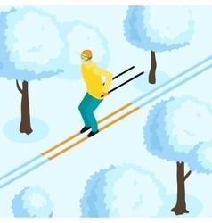 Man On Ski Isometric vector image