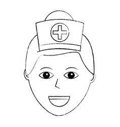 nurse face with cap cross uniform medical vector image