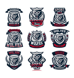 set emblems logos stickers aggressive wolf vector image vector image