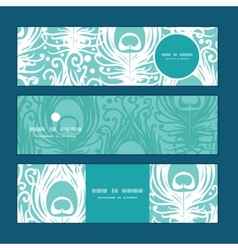 soft peacock feathers horizontal banners set vector image
