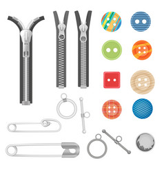 steel metal zipper and sewing tools accessories vector image vector image