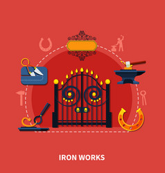 blacksmith iron works background vector image vector image