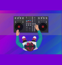 dj playing vinyl on the neon color light vector image