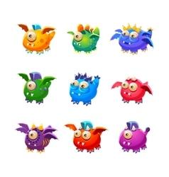 Little Alien Dragon Like Monsters Set vector image vector image