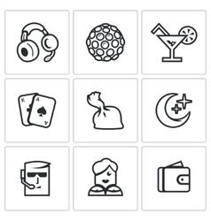 Set of Night Club Icons Music Lighting vector image