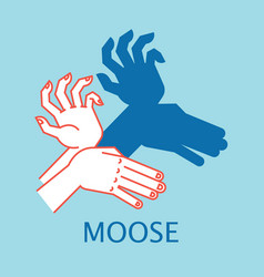 shadow theater hands gesture like moose vector image vector image