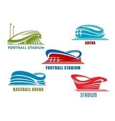 Sport arenas and stadiums building icons vector image vector image