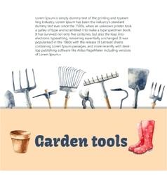 Watercolor garden tools set vector image