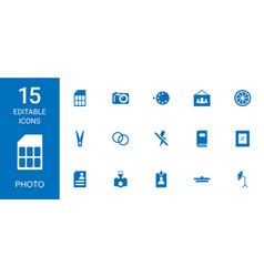 15 photo icons vector