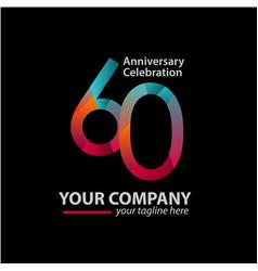 60 year anniversary celebration company template vector