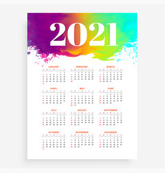 Abstract 2021 new year calendar in watercolor vector