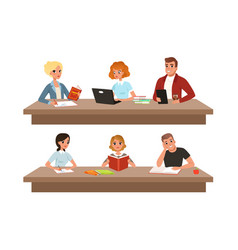 academic students in learning process set young vector image