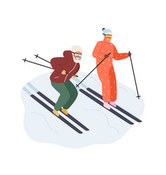 active mature couple in sportswear ride on ski vector image