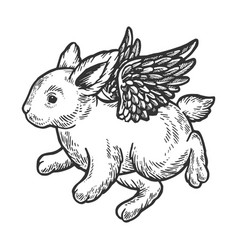 Angel flying baby bunny engraving vector