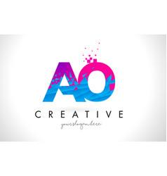 Ao a o letter logo with shattered broken blue vector