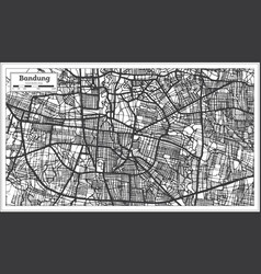 bandung indonesia city map in black and white vector image
