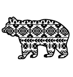 bear aztec style tribal design ethnic ornaments vector image