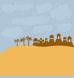 Bethlehem silhouette and desert design vector