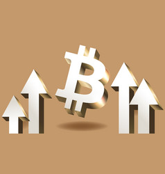 bitcoin currency goes up - crypto coin with growth vector image
