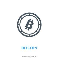 bitcoin line flat icon vector image