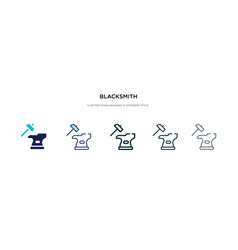 Blacksmith icon in different style two colored vector