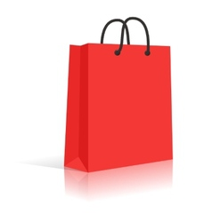 Blank Red Paper Shopping Bag With Black Rope vector image