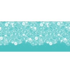 Blue seashells line art horizontal seamless vector image