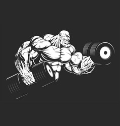 Bodybuilder with dumbbells vector