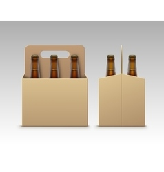 Bottles of Light Dark Beer with Packaging Isolated vector