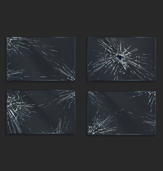 broken glass with cracks and hole from impact vector image