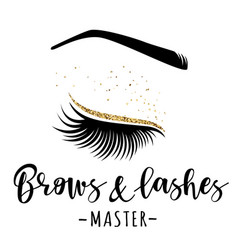 brows and lashes gold logo vector image