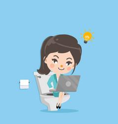 Business girl in toilet vector