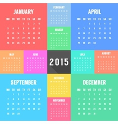 calendar of 2015 year with different colored vector image
