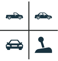 car icons set collection of stick automobile vector image vector image