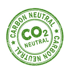 Carbon-neutral green round retro style grunge seal vector