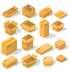 Cardboard boxes of various shapes and sizes vector