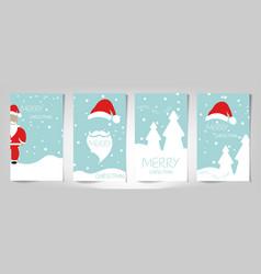 christmas card set merry christmas and santa claus vector image