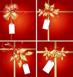 christmas ribbons bells and tags vector image