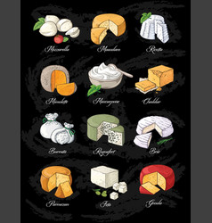 collection cut sliced cheese assortment hand vector image