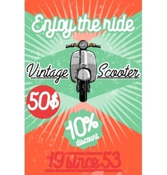 Color vintage scooter poster vector image
