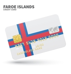 Credit card with Faroe Islands flag background for vector image