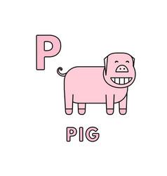 cute cartoon animals alphabet pig vector image