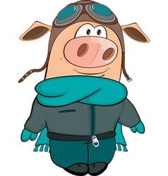 Cute Pig Aviator Cartoon vector