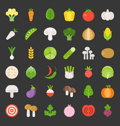 cute vegetable set 13 flat design icon vector image